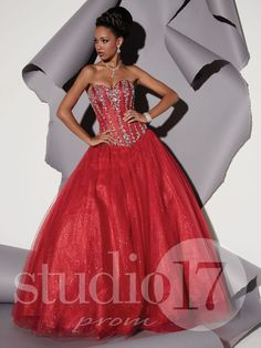 Studio 17 Style 12474: Strapless sweetheart neckline, Basque waist corset bodice with stone and sequin bead design, foil glitter tulle full ball gown, lace-up back. #prom #prom2014 #pageant #dress #specialoccasion #formalwear #studio17 #houseofwu