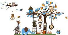 Giungla foresta animale scimmia, scoiattolo e gufo altalena gioco su foglie colorate albero Adesivo Wall Sticker, http://www.amazon.it/dp/B00KNWNLW4/ref=cm_sw_r_pi_awdl_x_54u0xbZJE40Q3