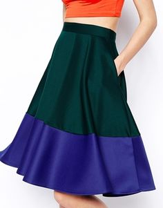 ASOS Color Block Midi Skirt In Scuba