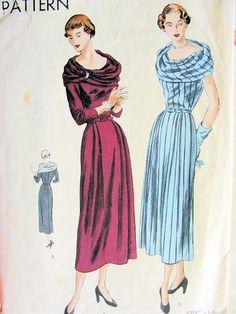 1940s DINNER DRESS PATTERN LOVELY LOW WIDE NECKLINE,BIAS DRAPED SCARF COLLAR VOGUE PATTERNS 6473