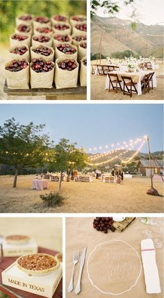 bottom picture, could use brown paper instead of renting table clothes and put chalk on the tables!! along with their names if you want assigned seating