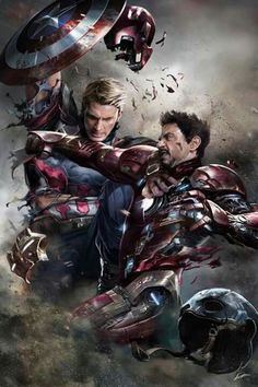 Alexander Lozano, one of the best cover artists working for Marvel, created one of the greatest piece of art you will ever see, featuring Captain America and Iron Man fighting to the death. Marvel Avengers, Marvel Comics, Marvel Fanart, Films Marvel, Heros Comics, Marvel Heroes, Captain Marvel, Civil War Art, Die Rächer