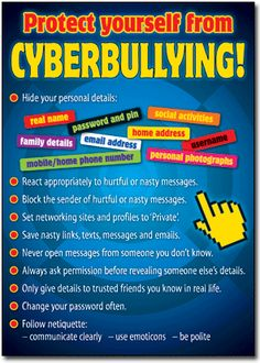 Cyber bullying: I love this poster for my classroom. As a teacher, I want to teach my students how to use the internet safety. I think this visual provides great tips to avoid cyber bullying for young students! Bullying Worksheets, Bullying Lessons, Stop Bullying, Bullying Facts, Cyber Bullying Poster, Cyber Safety, Social Activities, Anti Bullying Activities, Youth Activities