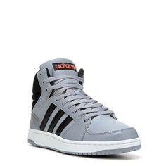 Adidas Men's Neo VS Hoops Mid Top Sneakers (Grey/Black/Red) - 10.5 M