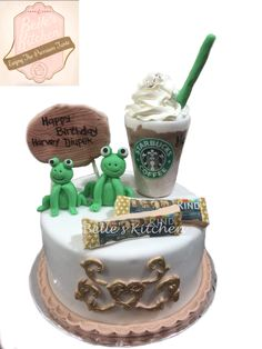 Starbucks, Frogs & Kind Energy Bar Cake By Belle's Kitchen, To Order Contact Our WA: 081294055786, Line: Bellekitchen Also Be Sure To Follow Our Instagram @belle_kitchen