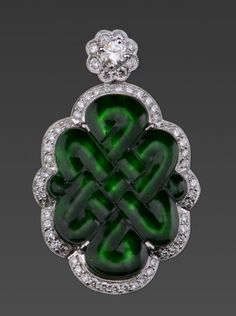 18k white gold jadeite and diamond Mystical Knot pendant