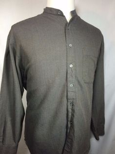 PERRY ELLIS Casual Shirt Mens Size LARGE L Long Sleeve Brown Mandarin  Collar  PerryEllis  ButtonFront cffc05de1