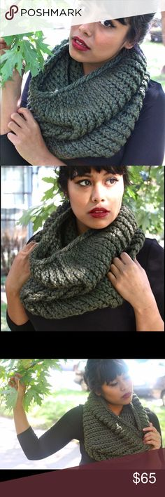 Hand Knit Cowl Scarf Olive Infinity Soft Stay warm and look fabulous with this handmade cowl. Hand knit by yours truly, I can assure you that it is of the highest quality and will last you a long time! Made of a unique super soft yarn that is 50% wool, 50% acrylic. Fits around your neck like a cowl but is a bit more voluminous and interesting-' like an infinity scarf. More colors in my boutique. I will also take custom orders! Olive Green. RackFocus Accessories Scarves & Wraps