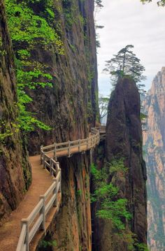 Cliffside Path, Huangshan, Anhui, China.  Huangshan is a mountain range in southern Anhui province in eastern China. The range is composed of material that was uplifted from an ancient sea during the Mesozoic era, 100 million years ago. The mountains themselves were carved by glaciers during the Quaternary. Vegetation on the range is thickest below 1,100 meters (3,600 ft), with trees growing up to the treeline at 1,800 meters (5,900 ft)