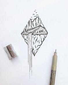 Fleur geometrique dessin geometrique a faire avec une ligne diamant paysage dedans Natur Tattoos, Kunst Tattoos, Body Art Tattoos, Sleeve Tattoos, Tattoo Art, Geometric Sleeve Tattoo, Geometric Tattoos, Trendy Tattoos, Cool Tattoos
