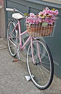 Vintage Pink Bicycle with Pink Flowers by Joyfuldesigns, via Dreamstime