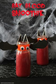 Bat Blood Smoothie! A fun and healthy beetroot and raspberry smoothie snack for kids that's perfect for Halloween!