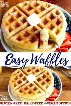 Easy Gluten-Free Waffles An easy gluten-free waffle recipe with a dairy-free and Vegan option. A gluten-free waffle mix made with a few simple ingredients that make fluffy, soft in the inside, and crispy on the outside waffles every time! Dairy Free Waffles, Gluten Free Pancakes, Gluten Free Banana, Gluten Free Snacks, Dairy Free Recipes, Gluten Free Breads, Sugar Free Waffles, Gluten Dairy Free, Eggo Waffles