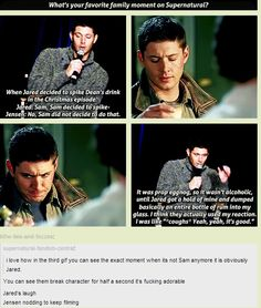 "[GIFSET] Jensen describing the ""eggnog incident"" in 3x08 A Very Supernatural Christmas"