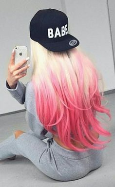 Blonde pink ombre dyed girly hair color