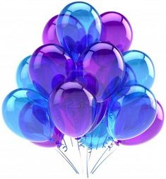 Balloons party birthday blue purple translucent. Decoration of holiday anniversary retirement graduation celebration. Fun joy happy positive abstract. Detailed render 3d. Isolated on white background Stock Photo