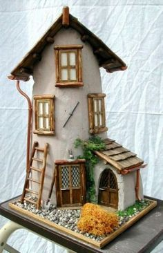 Discover recipes, home ideas, style inspiration and other ideas to try. Clay Fairy House, Fairy Garden Houses, Clay Houses, Ceramic Houses, Miniature Fairy Gardens, Miniature Houses, Clay Roof Tiles, Clay Design, Little Houses