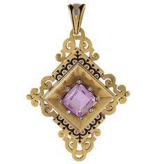 English Victorian Gothic Revival Enamel Pink Topaz Diamond Gold Pendant Brooch | From a unique collection of vintage brooches at https://www.1stdibs.com/jewelry/brooches/brooches/