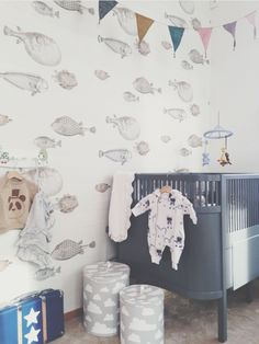 nursery with grey cot