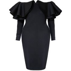 Plus Size Off Shoulder Double Ruffle Midi Dress (195 RON) ❤ liked on Polyvore featuring dresses, plus size midi dresses, plus size cocktail dresses, plus size off shoulder dress, off the shoulder fitted dress and off the shoulder midi dress