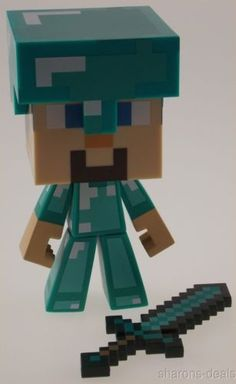"Minecraft Steve Diamond Edition 6"" Limited Vinyl Figure Sword Helment Poseable"