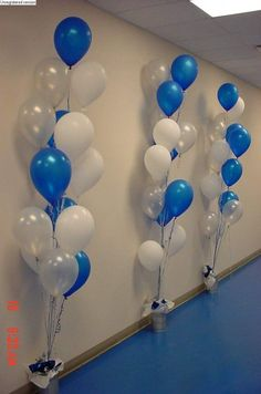 balloon decorations - since doing regular balloons - string them upside down and secure to wall (anniversary party wall decorations) Party Wall Decorations, Dance Decorations, Banquet Decorations, Graduation Decorations, Banquet Ideas, Balloon Bouquet, Balloon Arch, Grad Parties, Birthday Parties