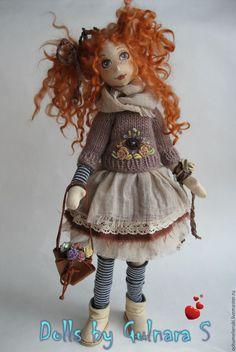 Купить Текстильная каркасная кукла. Авторская работа - коричневый, тильда, каркасная кукла, ручная работа