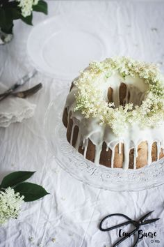 Rhubarb and elderflower bundt cake with white chocolate glaze