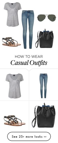 """casual"" by keeley-press on Polyvore featuring Yves Saint Laurent, Paige Denim, Valentino, Ray-Ban and Mansur Gavriel"