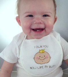 Snarky baby bib cross stitch pattern, funny needlepoint, rude embroidery, infant…