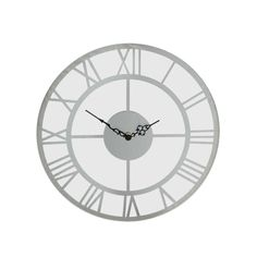 Round Glass Wall Clock with Mirror Roman Numerals 35 cm in Roman Numerals, Round Glass, Clock, Contemporary, Mirror, Silver, Ebay, Wall, Home Decor