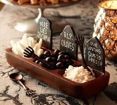tombstone condiments. so cute for Halloween