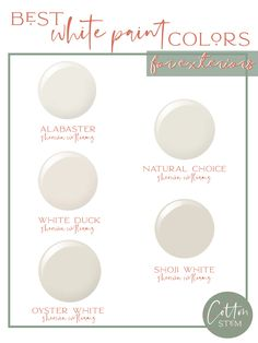 The 5 best white exterior paint colors that we tested for our home! Alabaster, Oyster White, Natural Choice, Shoji and White Duck by Sherwin Williams. Off White Paint Colors, Brick Paint Colors, Best White Paint, Off White Paints, Neutral Paint, Gray Paint, White Exterior Paint, White Exterior Houses, Exterior Paint Colors For House