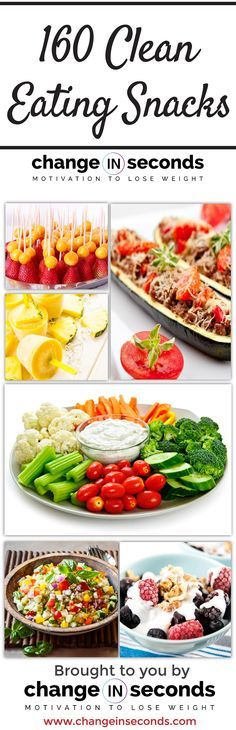 160 Clean Eating Snacks #CLEANEATING http://www.changeinseconds.com/160-clean-eating-snacks/