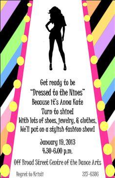 Fashion Show Birthday Party Invitation Striped