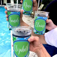 Palm tree Party Koozies having a great time!