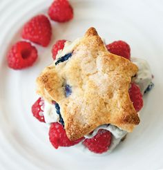 Star-Shaped Blueberry Shortcakes: This recipe makes the perfect Fourth of July dessert—especially when garnished with raspberries and whipped cream! http://www.guideposts.org/inspiration/recipes/dessert-recipes/star-shaped-blueberry-shortcakes?utm_source=Pinterestutm_medium=GPutm_campaign=TropicalChickenSalad09.20.13
