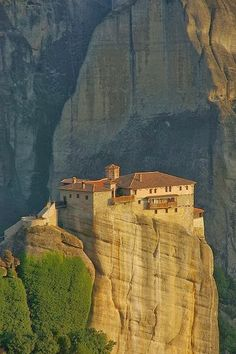 Strange Buildings round the Globe !! - Roussanou Monastery, Meteora, Greece.
