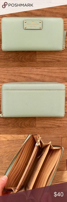 kate spade wallet kate spade wallet in teal; great condition, only used a few times; minor scuff mark on the back (see photos); ready to make the journey to your closet for the right price! happy shopping babes ✨ kate spade Bags Wallets
