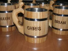 Saw this at a wedding... Gift from the groom to the groomsmen Really cool!! 5 Wooden Beer mugs with your names   08 l by UkrainianSouvenir, $110.00