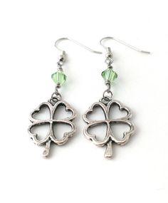 Shamrock Earrings Four Leaf Clover Earrings St. by HdAccessories