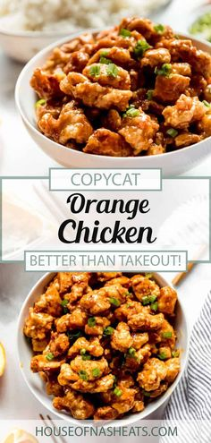 This sweet & savory Orange Chicken recipe is quick, easy and on the table in less than 30 minutes! Perfect for a weeknight fakeaway (sorry, Panda Express), this version is better for you than the fast food version and uses real ingredients. The whole family will enjoy this copycat Chinese Orange Chicken recipe that is packed full of flavor! #orangechicken #chicken #dinner #chinese #pandaexpress #copycat #easy #homemade #fromscratch #weeknight Yummy Chicken Recipes, Yum Yum Chicken, Turkey Recipes, Meat Recipes, Asian Recipes, Duck Recipes, Copycat Recipes, Ethnic Recipes, Chinese Orange Chicken