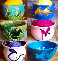 An archive of yarn bowls with animal shape cut outs used as yarn feeds. We have made quite a few animal cutout designs…not all animals lend themselves to effective use however. Clay Projects, Clay Crafts, Yarn Crafts, Diy And Crafts, Ceramic Pottery, Pottery Art, Animal Cutouts, Blanket Yarn, Pottery Classes