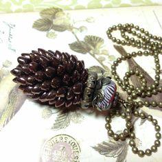 Metallic Burgandy Pinecone Pendant