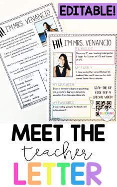 Looking for an editable meet the teacher letter that you can hand out during open house or back to school night, or mail to students before the first day of school so students and parents can to get to know you? This editable Meet the Teacher Letter is exactly what you're looking for! Teaching Second Grade, Second Grade Teacher, First Grade Teachers, Elementary Teacher, Back To School Night, Back To School Hacks, Back To School Activities, School Tips, Letter To Teacher