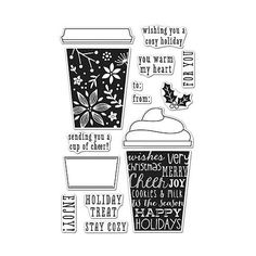"HERO ARTS: Coffee Cup Tags (4"" x 6"" Clear Photopolymer Stamp Set) This package contains Coffee Cup Tags: a set of fifteen clear stamps on one 4""x6"" inch backing sheet. *Also available in the Coffee Cu"