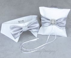 Dog Ring Bearer Ring Pillow Dog Bow Tie SET by DukeNDaisyDesigns, $49.50
