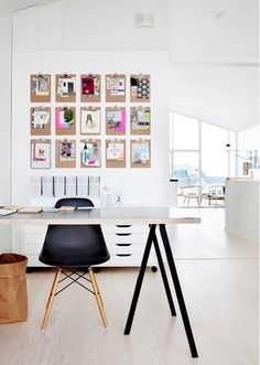clipboards hung on the wall, a great alternative to a cork/inspiration board. i'd spray paint them gold. or black!