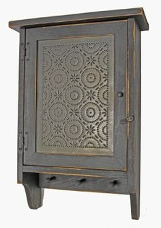 Cabinet - Country Rustic Primitive Wood Cabinet Old Mill Tin Panel Primitive Shelves, Primitive Furniture, Antique Furniture, Painted Furniture, Primitive Cabinets, Primitive Colors, Country Primitive, Wall Cupboards, Wood Cabinets