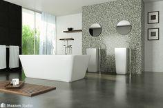 Modern Marble Bathroom And Concrete Floor Easy Stylish Flooring Ideas